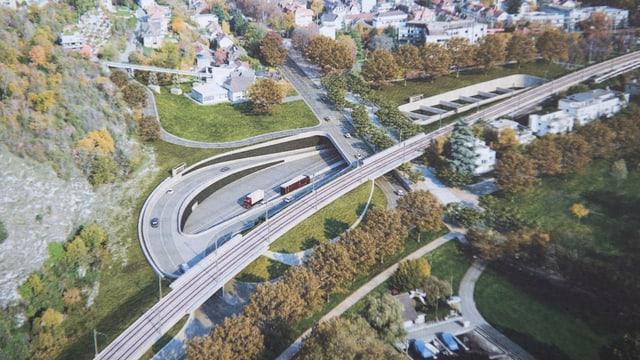 Eine Autobahn mit Ausfahrt.
