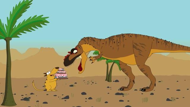 Ein kleines Tier streckt einem grossen Dinosaurier eine Torte hin.