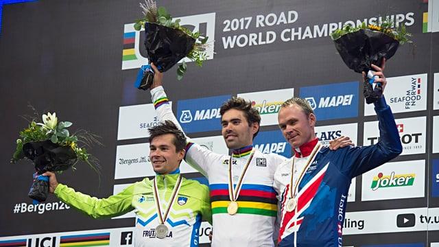 Tom Dumoulin, Primoz Roglic e Chris Froome