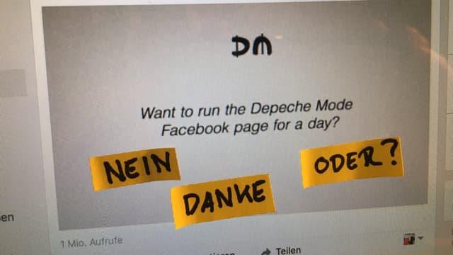Facebook-Aufruf von Depeche Mode: Willst du für einen Tag die Page übernehmen?