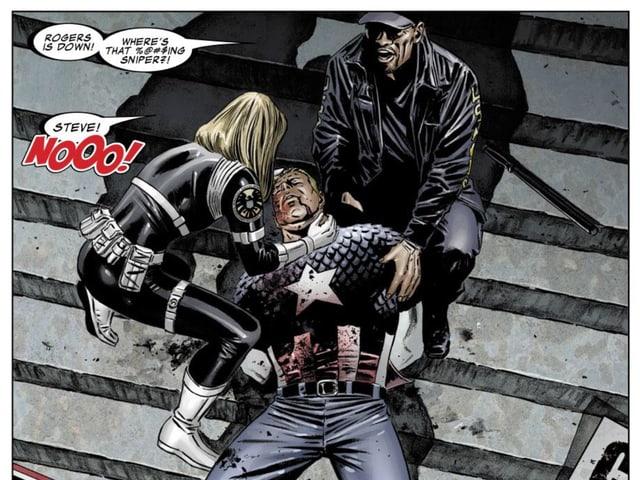 Captain America liegt erschossen am Boden