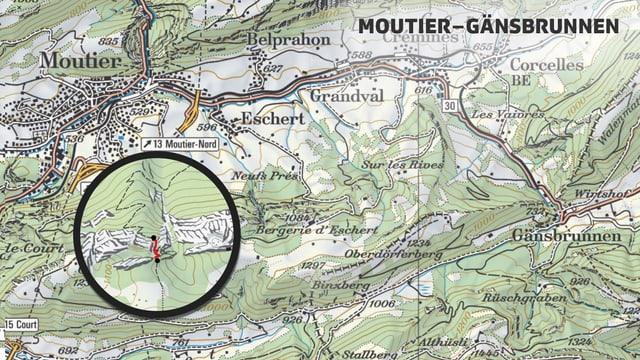 Karte der Route Moutier bis Gänsbrunnen
