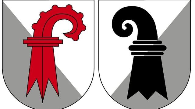 Kantonswappen von Basel-Landschaft und Basel-Stadt.