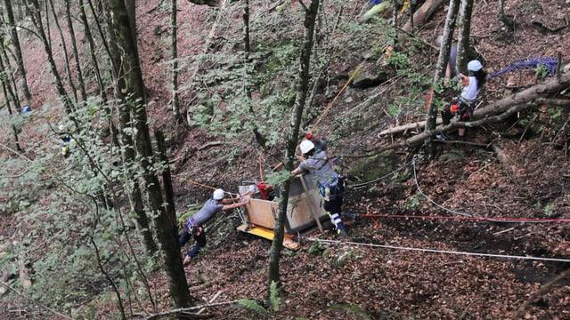 Männer und Frauen bergen eine verunglückte Transportseilbahn in einem steilen Waldstück.