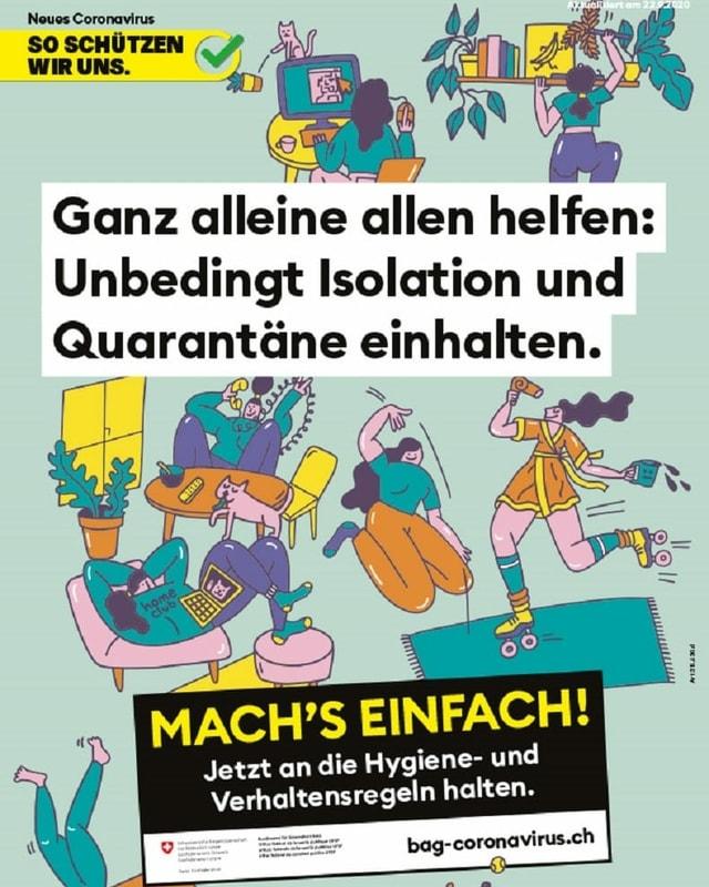 Das neue BAG-Plakat ist zu sehen mit Slogan Machs einfach und vielen gezeichneten Menschen.