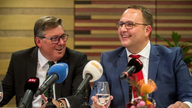 SVP-Präsident des Kantons Tessin Gabriele Pinoja zusammen mit Lega-Mann Norman Gobbi an der Pressekonferenz zur Nominierung des Bundesratskandidaten.