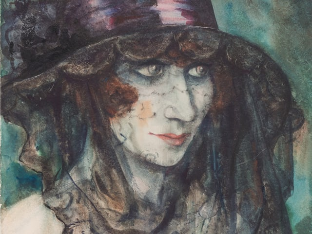 Porträt einer Frau mit Hut und Schleier