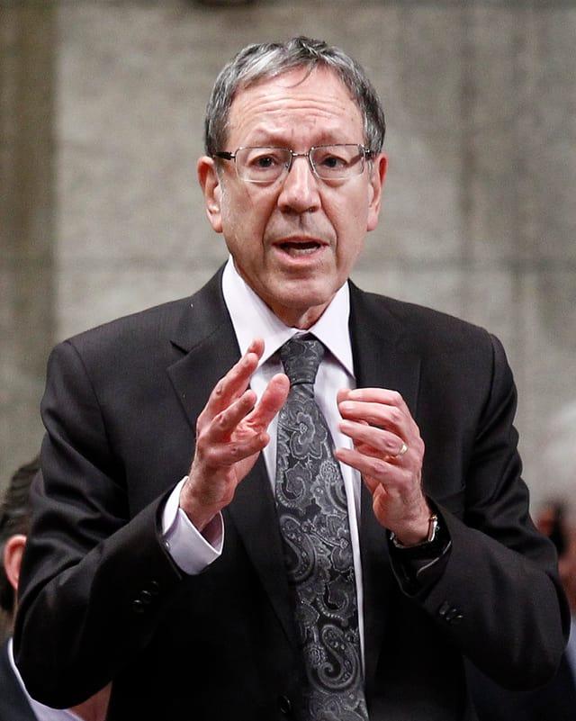 Cotler in Anzug und Krawatte mit Brille spricht und gestikuliert.