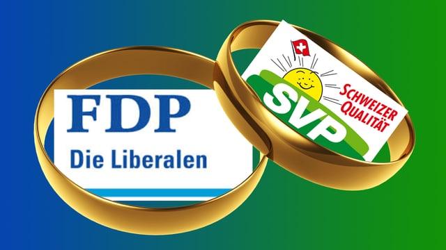 Die Logos von FDP und SVP umrahmt von zwei goldenen Eheringen