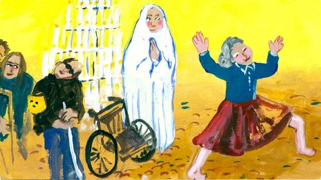 Illustration: Menschen werden von einer Madonna geheilt.