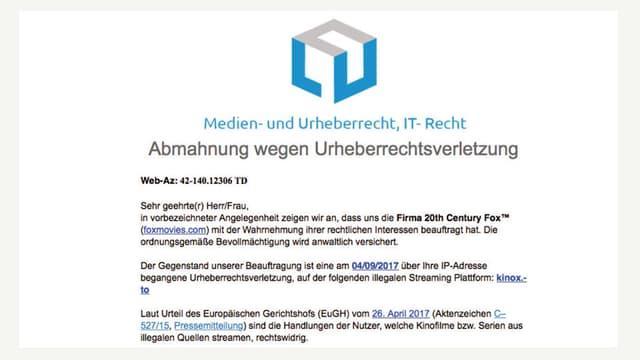 Auszug aus Betrugsmail mit dem Titel «Abmahnung wegen Urheberrechtsverletzung».
