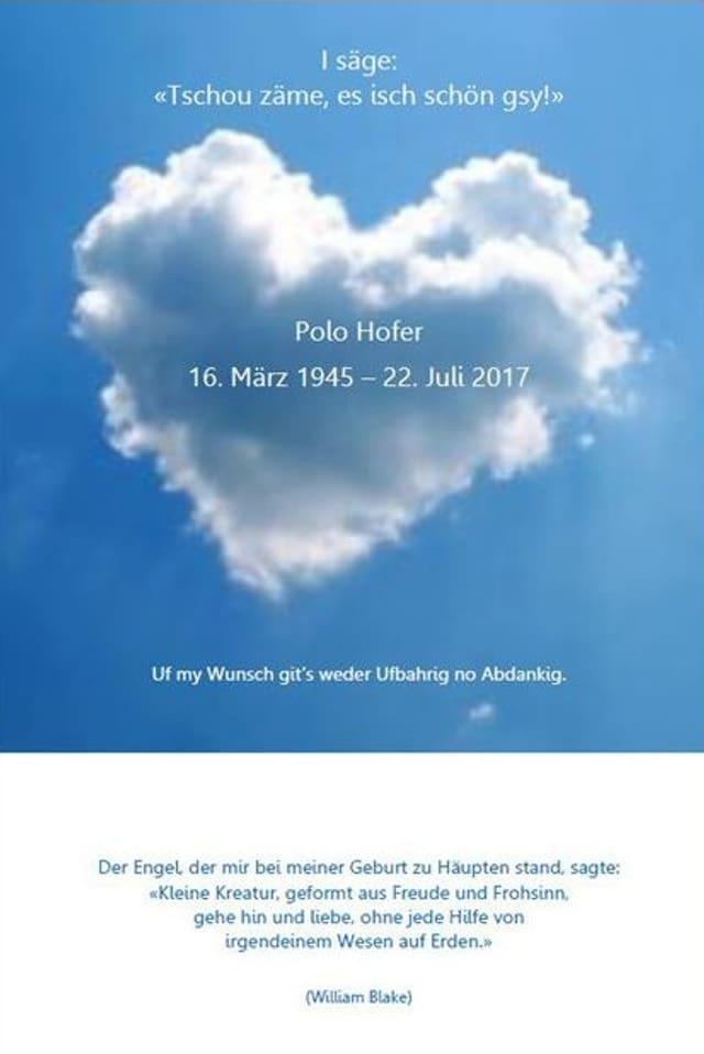 Purtret da l'annunzia da mort da Polo Hofer.