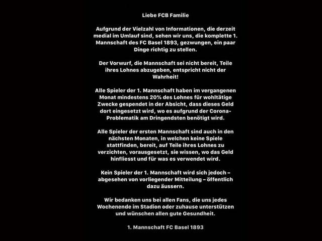 Das Statement der FCB-Spieler