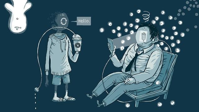 Abstrakte Zeichnung eines Mannes mit Handy und eines Jungen mit Becher in der Hand.