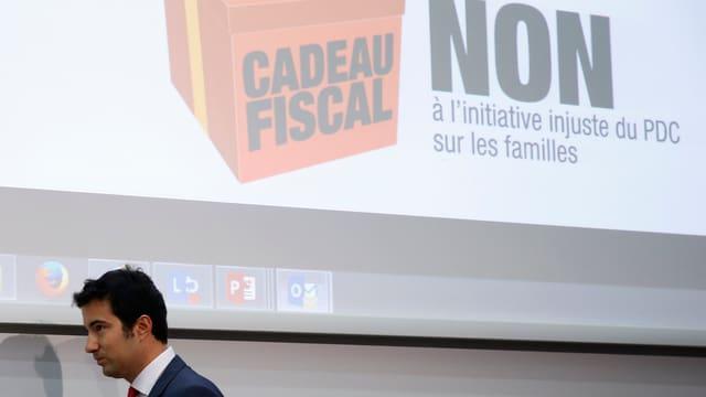 Andrea Caroni bei der Präsentation der Nein-Argumente.