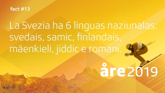 Visual cun l'inscripziun: «La Svezia ha 6 linguas naziunalas: svedais, samic, finlandais, mäenkieli, jiddic e romani.»