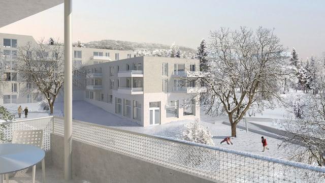 Visualisierung des Siegprojekts von Armon Semadeni Architekten GmbH aus Zürich und Weber + Brönnimann Landschaftsarchitekten aus Bern