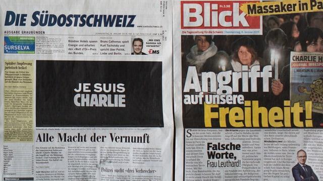 Zwei Printmedien nach dem Anschlag in Paris.