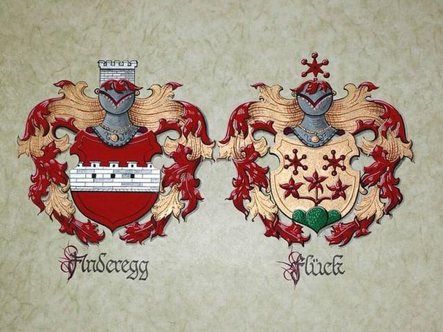 Die Wappen der Familien Anderegg und Flügg nebeneinander.