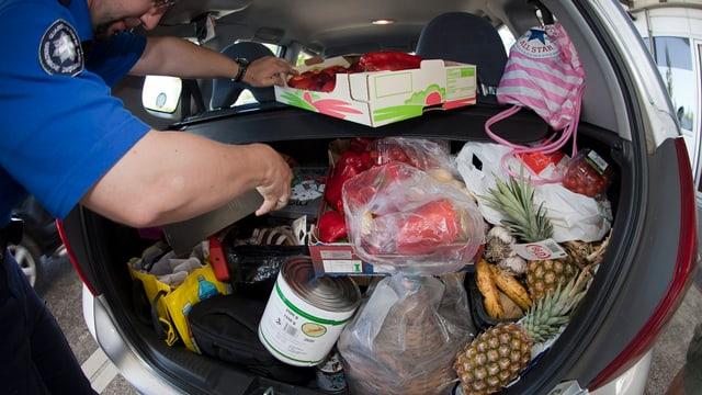 Ein Zöllner durchsucht einen Kofferraum eines Autos, das voller Lebensmittel ist.