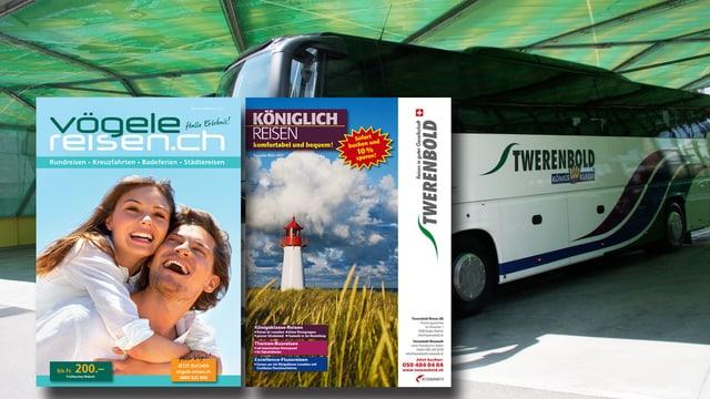 Fotomontage mit einem Bus der Firma Twerenbold, im Vordergrund zwei Kataloge der Firmen Vögele und Twerenbold