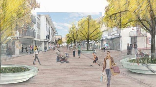 Totalansicht des künftigen Riehener Dorfzentrums in Gestalt einer Zeichnung.