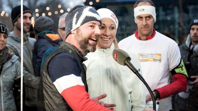 Daniela Ryf und Nik Hartmann nach geschafftem Lauf.