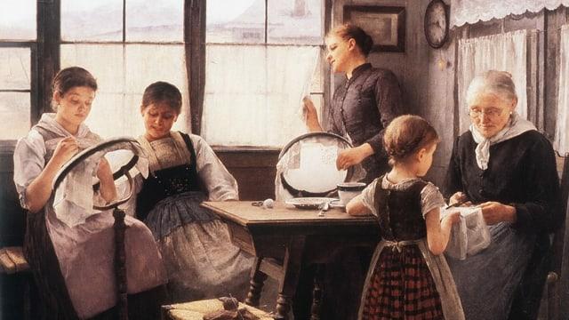 Altes Bild aus einer Bauernstube mit mehreren Frauen und Kindern am Sticken