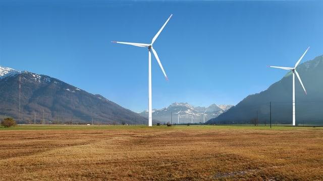 Kritik für den geplanten Windpark in der Linthebene. Visualisierung des Vereins Linth gegen Wind.