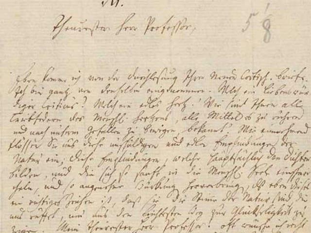 Bewerbungsbrief Wielands an Johann Jakob Bodmer in Zürich.