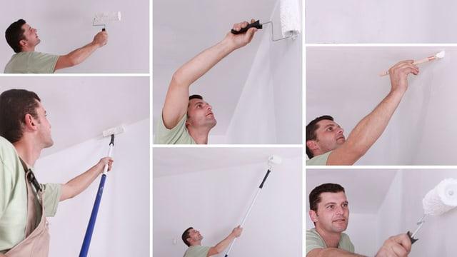 Verschiedene Situationen eines Mannes beim Zimmerstreichen