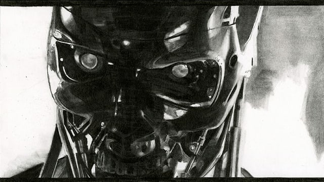 eine schwarz-weiss Zeichnung eines Roboters