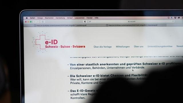 Computer sin la pagina da la e-ID