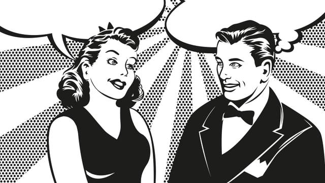 Ein Zeichnung von einer Frau und einem Mann im 50er Jahre-Stil.