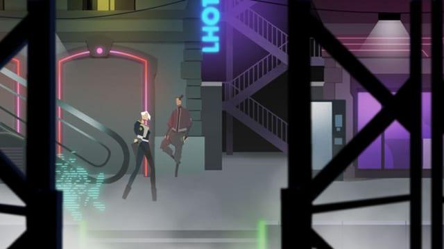 Optisch im Cyberpunk-Stil gehalten muss man sich als Hackerin beweisen.