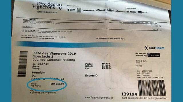 Ticket mit Vermerkt «Mit Menü».