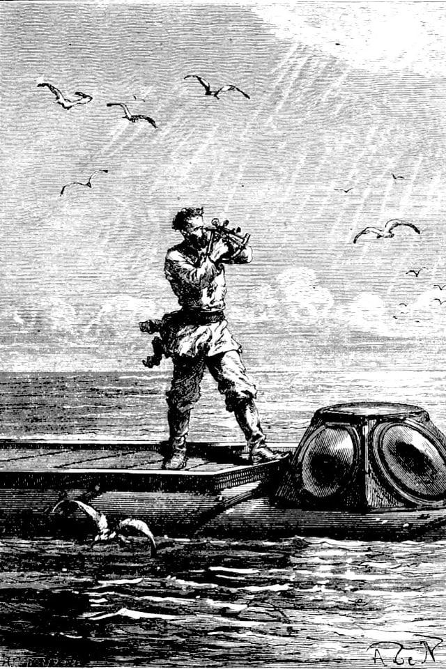Zeichnung von Kapitän Nemo auf dem U-Boot.