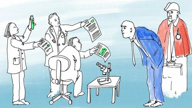 eine Illustration, die mehrere Wissenschaftler zeigt, die Alain Berset ihre Berichte vorhalten