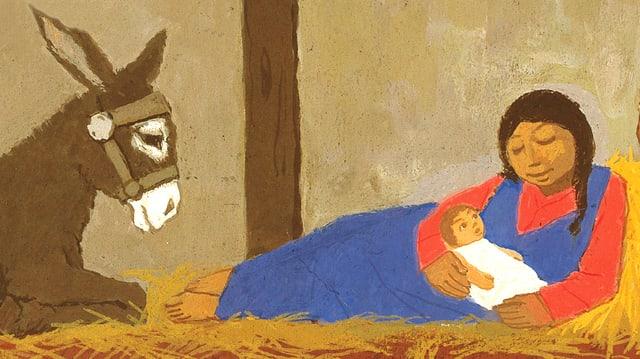 Maria liegt im Stroh und hält Jesus. Neben ihr ist ein Esel.