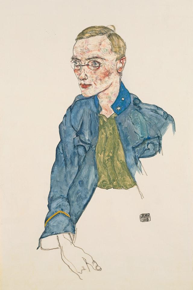 Gemlde eines jungen Mannes mit Brille in Uniform.