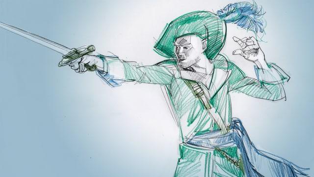 Eine Illustration eines Helden mit einem Schwert.