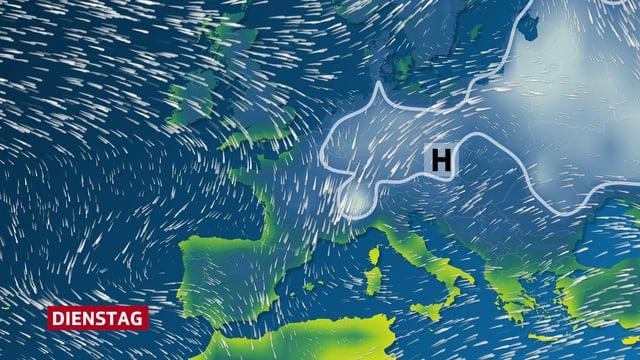 Temperaturverteilung über Europa. Die kalte Frostluft ist im Bild hellblau dargestellt und breitet sich von Osteuropa her bis zu den Alpen aus.