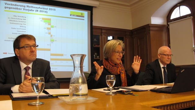 Finanzdirektorin Rosmarie Widmer (Mitte) konnte für einmal positive Nachrichten verbreiten.