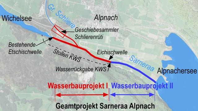 Eine Karte auf der die Etappen eingezeichnet sind.