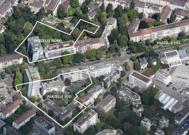 Sicht von oben auf das Quartier. Eingezeichnet sind Parzelle Nord und Parzelle Süd.