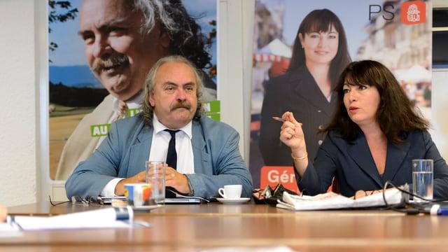 Luc Recordon (Grüne) und Geraldine Savary bei einer gemeinsamen Medienkonferenz
