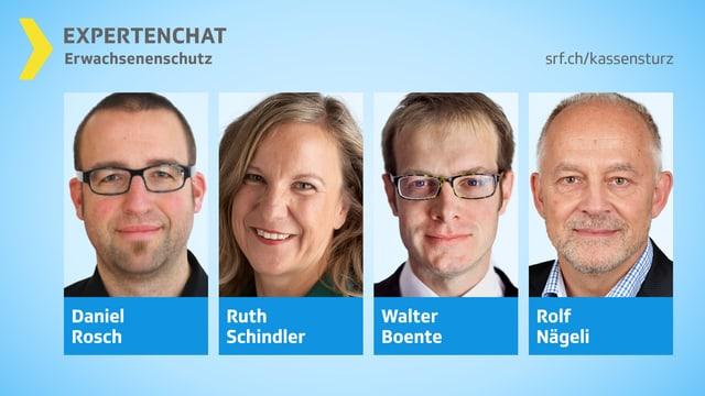 Porträtbilder der vier Chat-Experten.