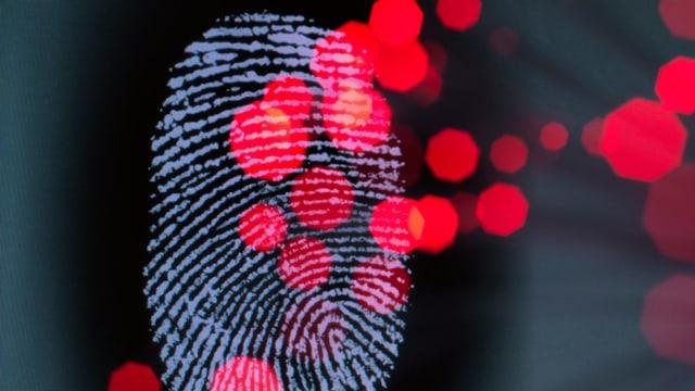 Ein Fingerabdruck vor digitalen Pixeln.