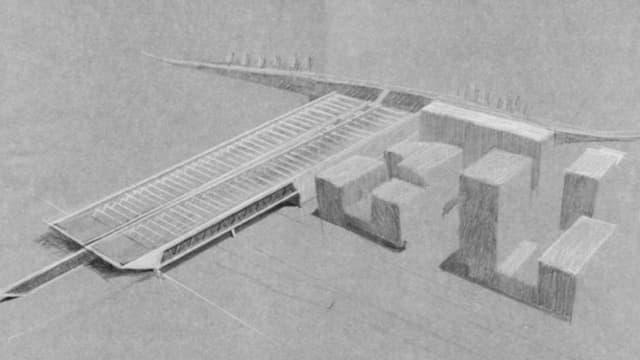 Eine Skizze der möglichen Strassen-Überdachung.