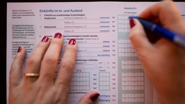 Ausfüllen einer Steuereklärung